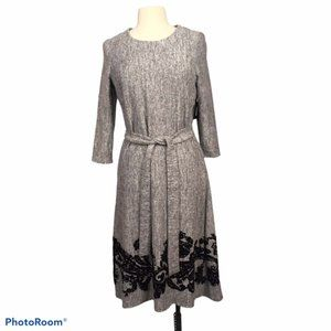 Tacera Gray A-Line Knit Dress with Black Applique